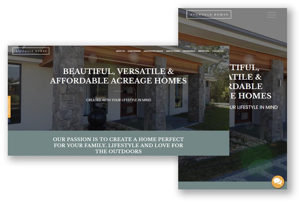 Avondale Homes Website Design